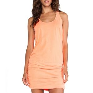 Jersey Knit Sleeveless Racer-back Shirred Dress